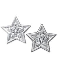 Macy's - Metallic 10k White Gold Earrings, Diamond Accent Star Stud Earrings - Lyst