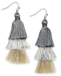 INC International Concepts - Metallic Ombré Tassel Drop Earrings - Lyst