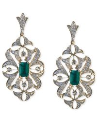 Effy Collection - Metallic Brasilica By Effy Emerald (1 Ct. T.w.) And Diamond (1/2 Ct. T.w.) Drop Earrings In 14k Gold - Lyst