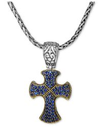 Effy Collection | Multicolor Balissima By Effy Sapphire Cross Pendant (7/8 Ct. T.w.) In Sterling Silver And 18k Gold | Lyst