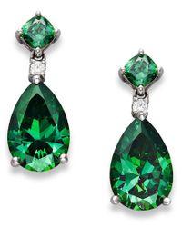 Arabella | Sterling Silver Earrings, Green Swarovski Zirconia Drop Earrings (11-9/10 Ct. T.w.) | Lyst