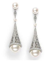 Danori   Metallic Earrings, Simulated Pearl And Pave Crystal Cone Drop Earrings   Lyst