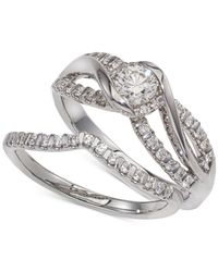 Macy's - Metallic Diamond Twist Interlocking Bridal Set (1/2 Ct. T.w.) In 14k White Gold - Lyst