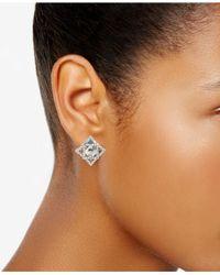 Carolee - Metallic Silver-tone Geometric Crystal Clip-on Earrings - Lyst