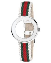 Gucci | Multicolor Watch Band Strap And Bezel, Women's Swiss U-play Green, Red And White Nylon Strap 27mm Yfa50040 | Lyst