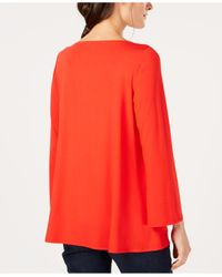Eileen Fisher - Red Stretch Jersey Ballet-neck Swing Tunic, Created For Macy's - Lyst