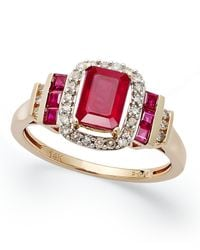 Macy's | Multicolor Ruby (1-5/8 Ct. T.w.) And Diamond (1/5 Ct. T.w.) Ring In 14k Rose Gold | Lyst