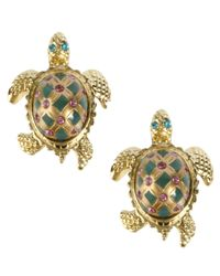 Betsey Johnson | Green Turtle Stud Earrings | Lyst
