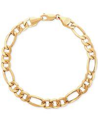 Macy's - Metallic Men's Figaro Link Bracelet In 10k Gold for Men - Lyst