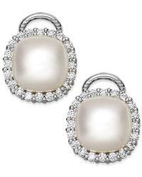 Majorica | Metallic Sterling Silver Organic Man-made Pearl And Cubic Zirconia Stud Earrings | Lyst