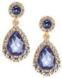 Charter Club - Metallic Gold-tone Crystal & Blue Stone Drop Earrings - Lyst