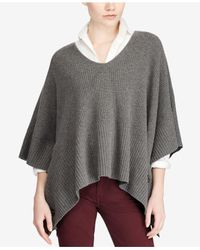 Polo Ralph Lauren | Gray Buttoned Poncho | Lyst