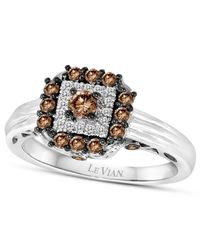 Le Vian - Metallic Chocolatier® Chocolate Deco Estate™ Chocolate Diamond (1/2 Ct. T.w.) And White Diamond Accent Square Ring In 14k White Gold - Lyst