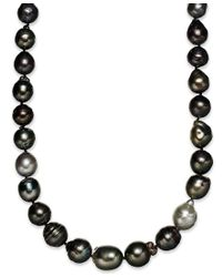 Macy's | Multicolor Sterling Silver Necklace, Multi Colored Cultured Tahitian Pearl (9-11mm) Baroque Strand Necklace | Lyst