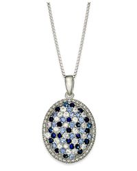 Macy's - Multicolor Sterling Silver Necklace, Sapphire Oval Pendant (1-1/6 Ct. T.w.) - Lyst