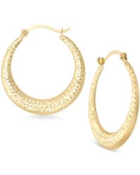 Macy's - Metallic Etched Graduated Hoop Earrings In 10k Gold - Lyst