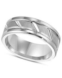 Triton | Multicolor Men's White Tungsten Carbide Ring, 8mm Diamond-cut Wedding Band for Men | Lyst