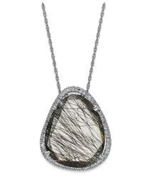 Macy's - Metallic Sterling Silver Necklace, Black Rutilated Quartz (11-3/4 Ct. T.w.) And Diamond (1/4 Ct. T.w.) Pendant - Lyst