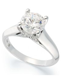 X3   Metallic Certified Diamond Solitaire Engagement Ring In 18k White Gold (1-1/2 Ct. T.w.)   Lyst