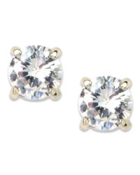 Anne Klein | Metallic Silver-tone Crystal Stud Earrings | Lyst