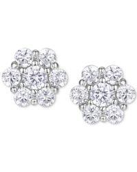 Macy's - Metallic Cubic Zirconia Flower Cluster Stud Earrings In Sterling Silver - Lyst
