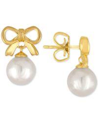 Majorica | Metallic Gold-tone Imitation Pearl Bow Drop Earrings | Lyst