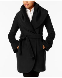 T Tahari - Black Marla Shawl-collar Wrap Coat - Lyst