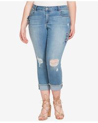 Jessica Simpson - Blue Trendy Plus Size Ripped Floral-appliqué Skinny Jeans - Lyst