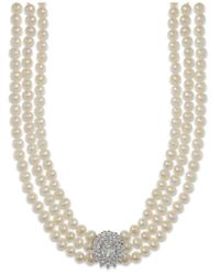 Arabella - Metallic Cultured Freshwater Pearl (5mm) And Swarovski Zirconia Necklace In Sterling Silver - Lyst
