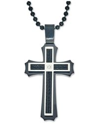 Macy's - Black Men's Diamond Accent Cross Pendant Necklace In Stainless Steel And Ion-plating for Men - Lyst