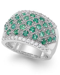 Macy's - Green Emerald (1-1/6 Ct. T.w.) And White Sapphire (7/8 Ct. T.w.) Ring In Sterling Silver - Lyst