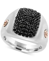 Effy Collection - Metallic Men's Black Sapphire Cluster Ring (1-3/8 Ct. T.w.) In Sterling Silver And 18k Rose Gold for Men - Lyst
