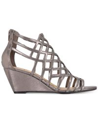 Material Girl - Metallic Henie Caged Demi Wedge Sandals - Lyst