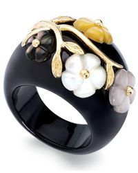 Macy's - Black 14k Gold Over Sterling Silver Ring, Jade Or Onyx And Multicolored Mother Of Pearl Flower Ring - Lyst