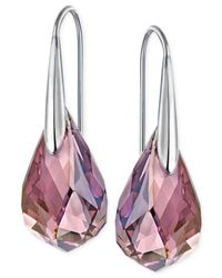 Swarovski | Metallic Silver-tone Lilac Crystal Drop Earrings | Lyst