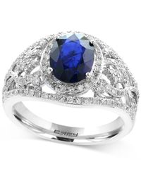 Effy Collection - Metallic Sapphire (9/10 Ct. T.w.) And Diamond (1/2 Ct. T.w.) Openwork Ring In 14k White Gold - Lyst