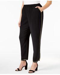 Nine West - Black Plus Size Crepe Straight-leg Pants - Lyst