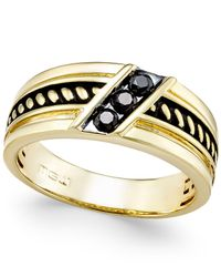 Macy's - Metallic Men's Diamond Antique-look Three-stone Band (1/4 Ct. T.w.) In Black Enamel And 10k Gold for Men - Lyst
