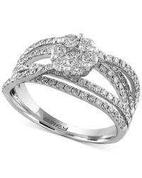 Effy Collection - Metallic Diamond Floral Crisscross Ring (1-1/3 Ct. T.w.) In 14k White Gold - Lyst