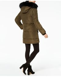 Kenneth Cole - Multicolor Faux Faux-leopard-lined Hooded Puffer Coat - Lyst