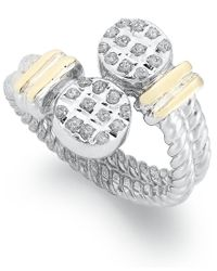 Macy's - Multicolor 14k Gold And Sterling Silver Ring, Diamond Accent Cable Bypass Ring - Lyst