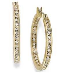Charter Club - Metallic 14k Gold Plated In/out Crystal Hoop Earrings - Lyst