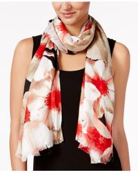 Calvin Klein - Red Painted Floral Wrap & Scarf In One - Lyst