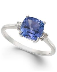 Macy's - Blue 14k White Gold Ring, Tanzanite (1-5/8 Ct. T.w.) And Diamond Accent Cushion Ring - Lyst