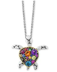 Effy Collection - Metallic Multi-gemstone Turtle Necklace (2 Ct. T.w.) In Sterling Silver - Lyst