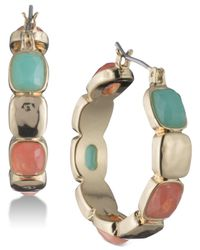 Nine West - Metallic Gold-tone Multi-stone Hoop Earrings - Lyst