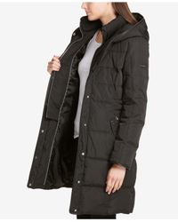 DKNY - Black Petite Hooded Faux-leather-trim Puffer Coat - Lyst