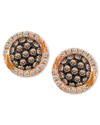 Le Vian - Brown Chocolate Diamond (3/8 Ct. T.w.) And White Diamond (1/10 Ct. T.w.) Pave Oval Stud Earrings In 14k Rose Gold - Lyst