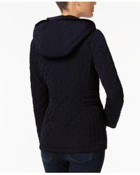 Laundry by Shelli Segal - Black Petite Velvet-trim Quilted Coat - Lyst
