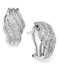 Wrapped in Love - Metallic Diamond Twist Earrings In Sterling Silver (1 Ct. T.w.) - Lyst